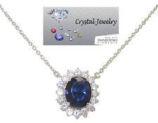 Princess Kate & Diana Necklace Royal Sapphire Blue White Goldplate