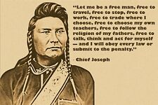 INDIAN CHIEF JOSEPH quote photo poster LET ME BE A FREE MAN western 24X36