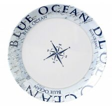 Navyline Azul Océano Plástico Duro Dessert-Teller Borde Vajilla Marítimo Pantry