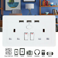 Double Wall UK Plug Socket 2 Gang 13A + 3 USB Charger Port Outlets Plate White
