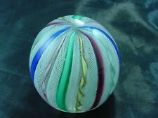 Vintage Exceptional  MURANO LATTICINO RIBBON ART GLASS PAPERWEIGHT Italy