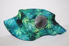 KB ETHOS Unisex Bucket Cap Medical Cannabis Hat Marijuana Hemp Blue Floral New