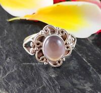 925 Solid Silver Rose Quartz Ring Cabochon Oval Women Handmade Rings Jewelry