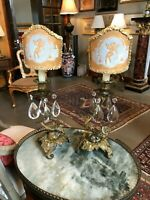 19th Century French Bronze & Crystal Drop Candle Holders w/ Antique Half Shades
