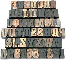 """Letterpress WOOD Type 1 5/16"""" DECORATIVE Alphabet + Numbs 49pcs **RARE FONT**"""