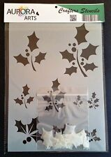 Stencil by Aurora Arts A4 Christmas holly Leaves 190mic Mylar craft stencil 034
