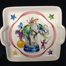 "VILLEROY & BOCH LE CIRQUE HANDLED 9"" SQUARE CAKE PLATE ELEPHANT CIRCUS TIGER"