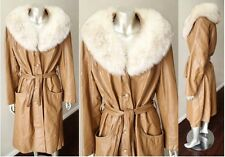 Arctic Fox Real Fur Collar Leather Vintage 70s Boho Belted Spy Trench Coat Sz M