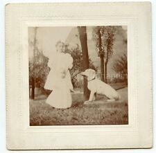 Creepy Ghostly Edwardian Kids Girls Stand By Dog Statue Dreamy 1900s Photo
