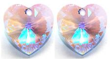 2 SWAROVSKI HEART PENDANTS 6228 CUSTOM COATED GLACIAL LIGHT SAPPHIRE BLUE, 10 MM