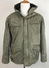 BILLABONG Mens Military Faux Fur Hood Trim Camo Lined Jacket Mens Size M
