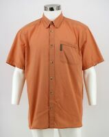 Columbia Button Down Shirt Size Large Orange Check Cotton Short Sleeve Mens