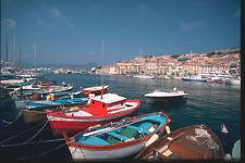 204040 Colorful Fishing Boats In Portoferraios Inner Harbor A4 Photo Print