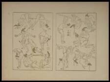 HOKUSAI, DEUX PAGES DE LA MANGUA - 1889 - JAPON,