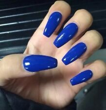 Set Of Painted Blue Glossy  Long Coffin Nails