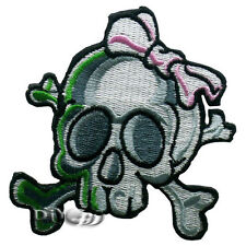 Girl Skull Crossbones Bow Embroidered Sew or Iron on Patch Applique Badage Biker