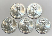 Lot of 5 Silver 2018 American Silver Eagles, 1 oz  Coins - .999 Fine Silver