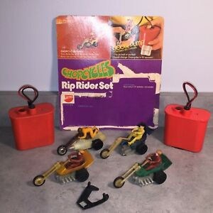 Vintage 70's Mattel Chopcycles Motorcycle Lot of 4, Track Guide, Goose Pump