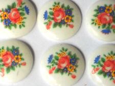 #1324 Vintage Cabochons 18mm Limoges Round Roses Rose Porcelain Flowers  NOS
