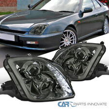 Fit 97-01 Honda Prelude Smoke Tinted Projector Headlights w/ SMD LED DRL Strip