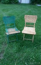 2 ANTIQUE VINTAGE SOLID WALNUT WOOD SLAT SINGLE FOLDING CHAIRS camping  seats