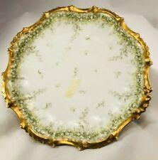Elite Limoges Bawo & Dotter Gold Scalloped Plate Green France 1896-1900 Stunning