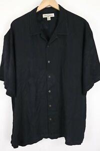 Tommy Bahama Mens sz XXL Black 100% Silk Button up Short Sleeve Camp Shirt 2XL