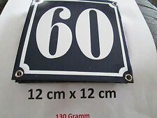 Hausnummer Emaille Nr. 60  weisse Zahl auf blauem Hintergrund 12 cm x 12 cm