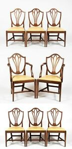 Set of 8 Solid Mahogany Shield Back Dining Chairs Leather Fabric Federal Style