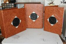 3 pc SET WESTERN LEATHER PORTFOLIO,  3 RING BINDER, DAY PLANNER MONTANA SILVER