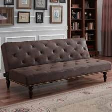 Vintage Faux Suede Leather Brown Sofa Bed Elegant Classic Style With Stud Detail