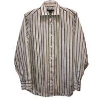 Banana Republic Men's Medium Striped Fitted Long Sleeve Button Front Shirt Top M