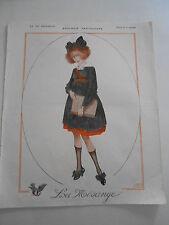 La Vie Parisienne 1918  Zoologie Fantaisiste Ecolière Vintage Print Léonnec