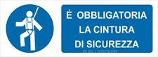 """2 TARGHETTE ADESIVE """"OBBLIGATORIA CINTURA DI SICUREZZA"""" SEGNALETICA, PROTEZIONE"""