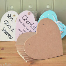 10x 12mm thick MDF Craft hearts shaped plaques/sign with 2 hanging holes 15cm