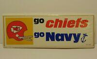 VINTAGE 1970s KANSAS CITY CHIEFS NFL FOOTBALL US NAVY MIDSHIPMEN BUMPER STICKER
