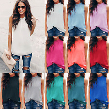 Women Summer Chiffon Sleeveless Vest Ladies Tank Top Halter Neck T Shirt Blouse