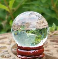 Clear Glass Crystal Ball Wood Stand 40mm Divination Gazing Sphere Scrying Orb