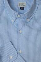 J Crew Men's Light Blue & Navy Stripe Cotton Casual Shirt XL XLarge