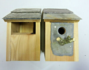 2 x Bird House Nesting Boxes Welsh Slate Open front & 32mm Hole sparrow greatits