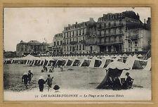 Cpa Les Sables d'Olonne - la plage les grands hôtels tampon mitrailleurs rp255