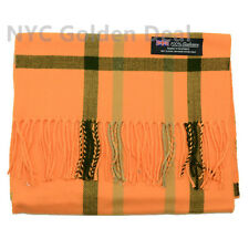 Men's 100% CASHMERE Scarf tartan ORANGE Plaid Design Soft MADE IN SCOTLAND