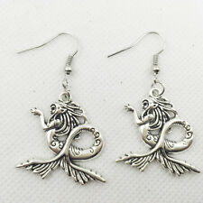 New 1 pair Free shipping Fashion Antique silver Jewelry  Mermaid  earring @5