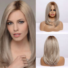 EASIHAIR Medium Length Wavy Synthetic Wigs for Women Ombre Brown Blonde Hair WIg