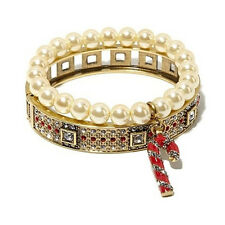 "Heidi Daus Bangle Bracelet Stretch Charm Set Candy Cane 7-1/2"" Hsn Sold Out!"