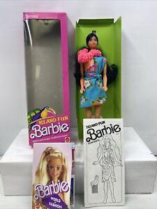 Vintage 1987 Island Fun Teresa Barbie Doll Hawaiian Lei # 4117 Long Black Hair