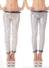 SEXY Pantalone Jeans TROUSERS foglia argento cinturino sfumato nuovo