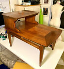 Mid-Century Modern Lane Step End Table With Inlaid Walnut Burl Style #1927