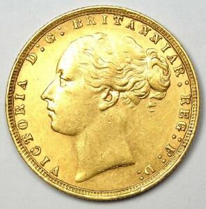 1876 Great Britain England Victoria Gold Sovereign Coin 1S - AU Details