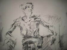 Figure drawing nude expressive charcoal / paper, female woman sitting A1 size @